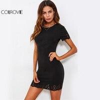 Laser Cut Bodycon Klub Sukienka Kobiety Muszelki COLROVIE Forma Zabudowy Sexy Mini Sukienki 2017 Moda Lato Black Cut Casual Dress