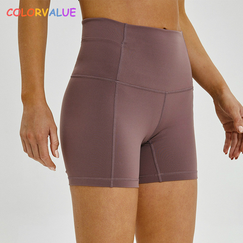 Colorvalue Slim Fit High Waist Yoga Sport Shorts Women Plain Soft Nylon Fitness Running Shorts Tummy Control Workout Gym Shorts