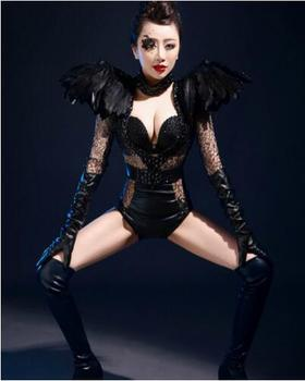 Fashion Jazz Dance Stage Costume Jumpsuit Female Singer Dj Black Big Feather Shoulder PerspectiveShow Performance Clothing set