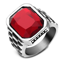 Top Quality Red Stone Luxury Man Ring 316L Stainless Steel Round Cut Red Stone Punk Rock