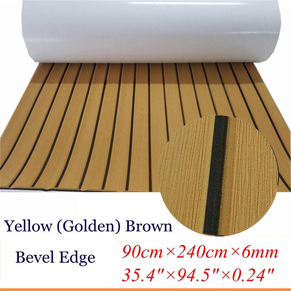 """מערכות ניווט שדרג טיק הסיפון גיליון עבור אביזרים תלוש שטיחים ריצוף ימית סירה יאכטה EVA ללא Mat 90cm240cm / 35.4 """"94.5"""" צהוב בראון (1)"""