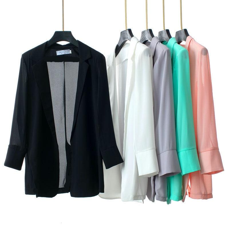 Big Size New Chiffon Blazer Office Lady Casual Notched Jacket Summer Split Slim Thin Outerwear Workwear Casaco Female Tops  F746