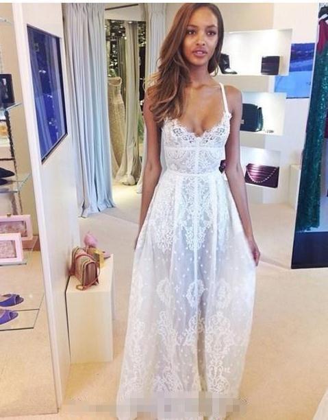 Beautiful Lace Floor Length Prom Dresses