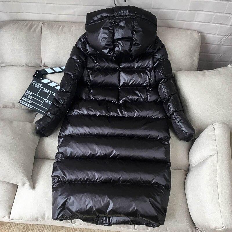 Kadın Giyim'ten Şişme Montlar'de AYUNSUE 90% beyaz ördek şişme ceket kadınlar kalın uzun kış ceket kadın kapüşonlu kore kadın balon ceket Doudoune Femme KJ727'da  Grup 3