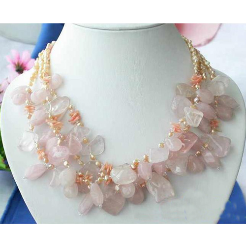 Freshwater Pearl Necklace,4Rows Massive Sheet Natural Crystal Pink Cultured Pearl Jewellery,Fashion Women Jewellery GiftFreshwater Pearl Necklace,4Rows Massive Sheet Natural Crystal Pink Cultured Pearl Jewellery,Fashion Women Jewellery Gift