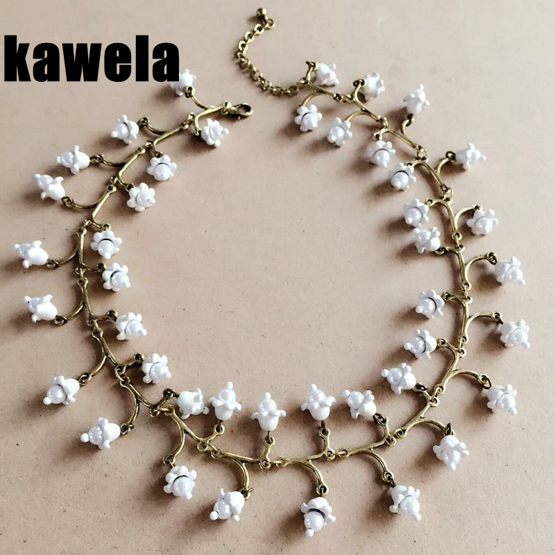 Free Shipping New Choker Statement White Sweet Neklace, Fresh Water Pearl White Flower Necklace ...