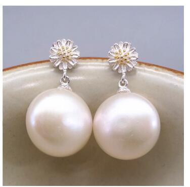 Eternal wedding Women Gift word 925 Sterling silver 14-16mm real Baroque Baroque Pearl Earring Earrings light pearl baroque