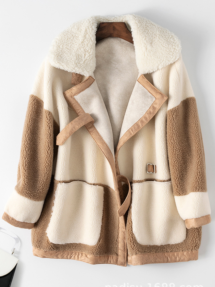 Sheep Shearing Coat Parka Sheep-Fur-Jacket Lamb Wool Real Fur Winter Ladies New-Fashion