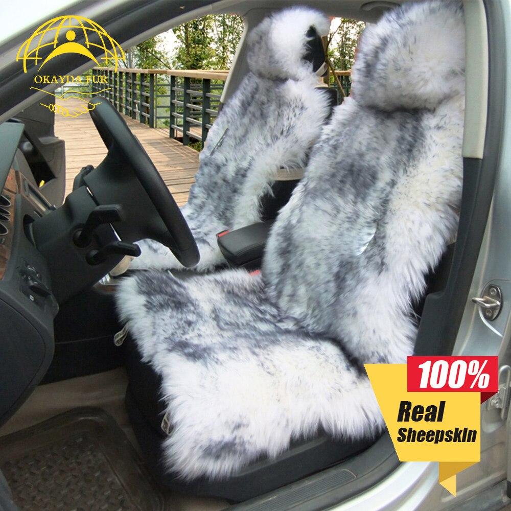 OKAYDA RU 100% Natural de piel de oveja australianas cubierta de asiento de coche de pelo largo universal cojín protector de asiento de coche de piel cubierta de asiento