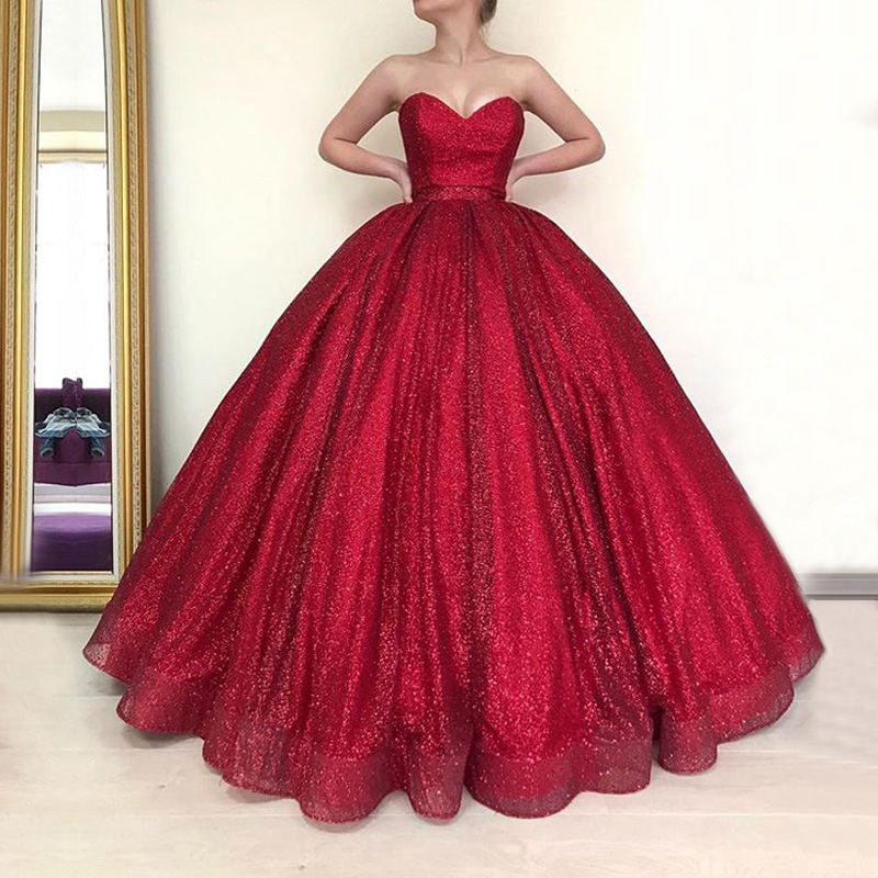 Long Dubai Arab   Evening     Dress   2018 Puffy Ball Gown Sweetheart Glitter Burgundy Ladies Formal   Evening   Gowns robe de soiree