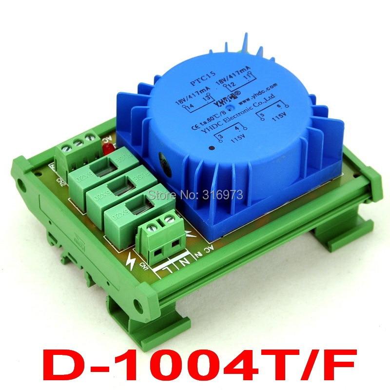 P 115VAC, S 2x 18VAC, 15VA DIN Rail Mount Toroidal Power Transformer Module.