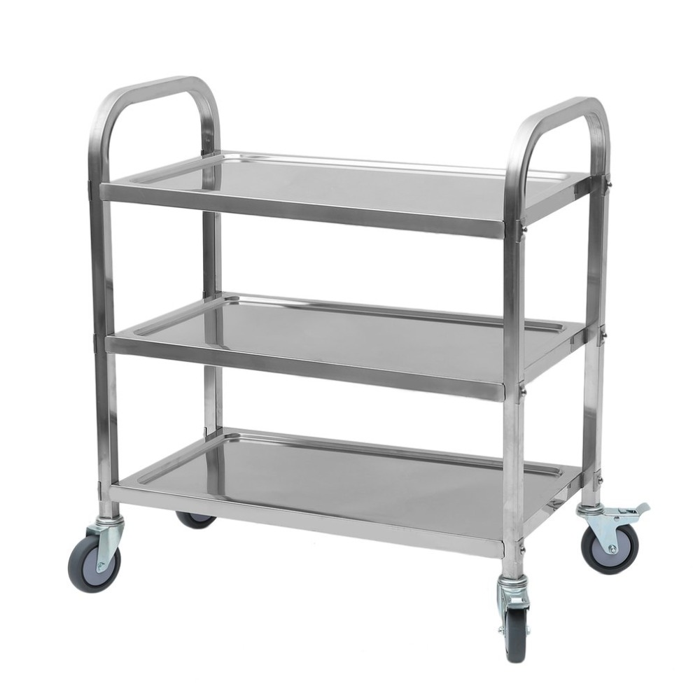 купить 85x45x90cm Kitchen Serving Trolley Cart Sturdy 3-Tiers Stainless Steel Organizer Container Rolling Trolley Storage Cart по цене 6459.76 рублей