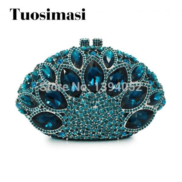 noble blue big stone small wedding evening bag woman handbags purses rhinestone evening clutch(8753A-LB)