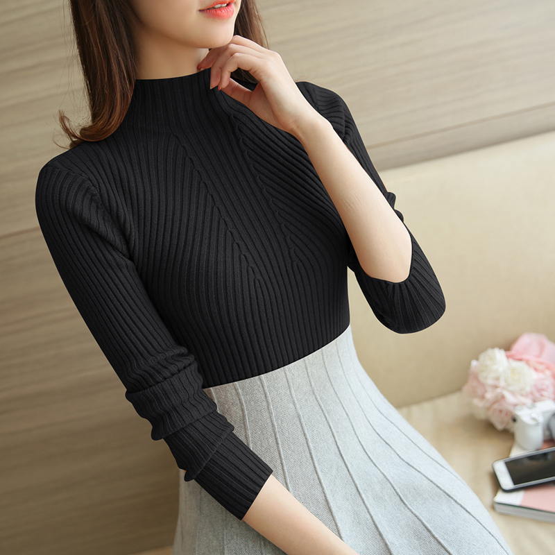 Turtleneck Sweater Women Fashion 2019 Autumn Winter Black Tops Women Knitted Pullovers Long Sleeve Jumper Pull