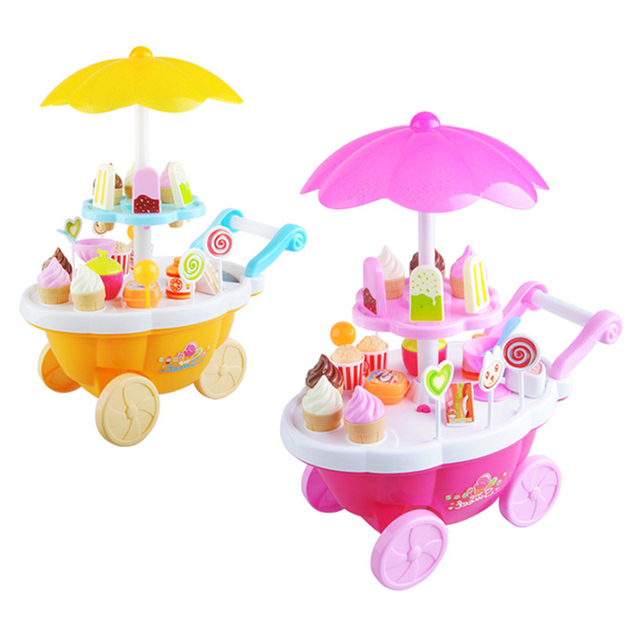 Kids Play Mini Plastic Trolley Store Ice Cream Popcorn Lollipops Kitchen  Accessories Toys Fun Store Pretend