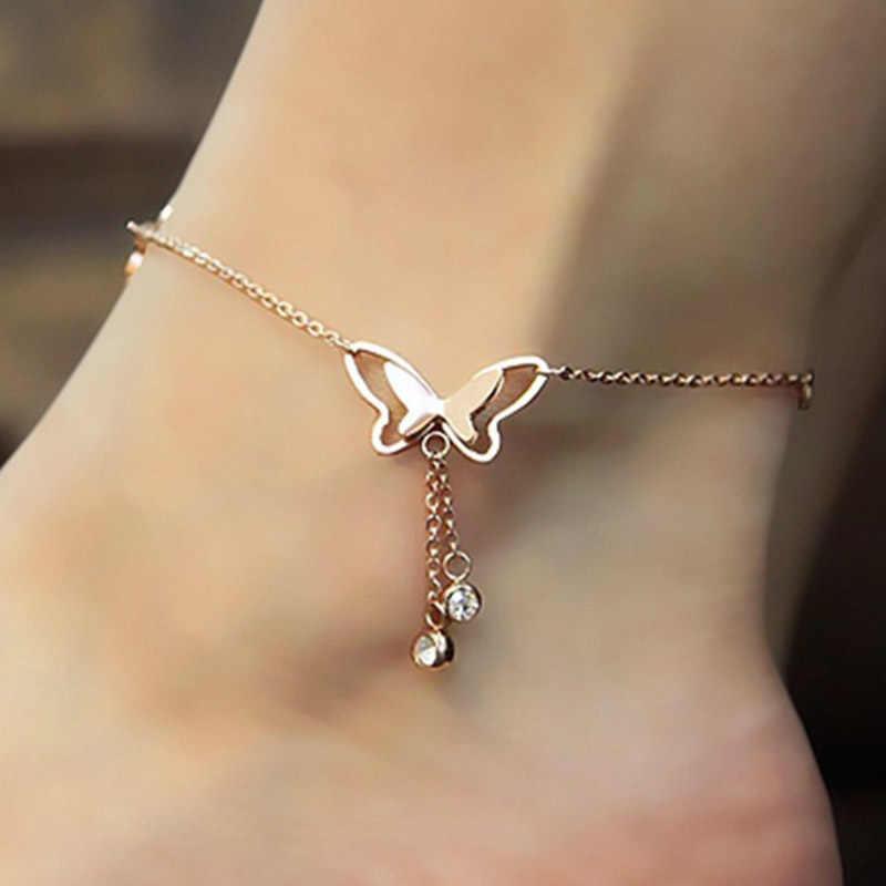QCOOLJLY จี้ผีเสื้อ Anklets เท้าฤดูร้อนโยคะชายหาดขาสร้อยข้อมือ Handmade สร้อยข้อมือ Rose Gold เงินเครื่องประดับ