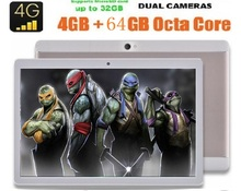 10 pulgadas Original de 3G 4G LTE tablet PC Android 6.0 Phone call Octa core 1280×800 IPS de $ number MEGAPÍXELES de Doble tarjeta SIM FM bluetooth GPS tabletas