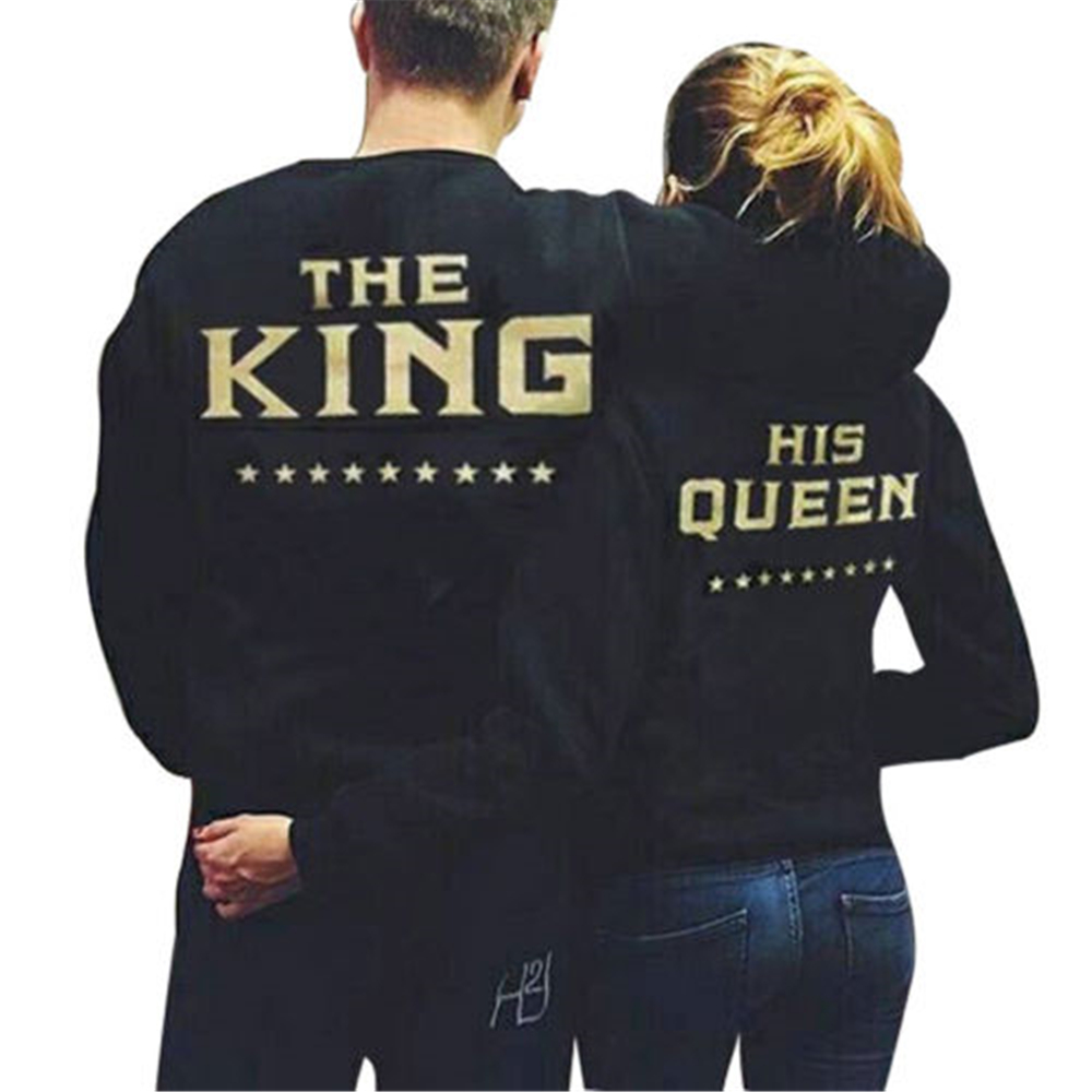 5ede89191 Creative New Top Shirts King Queen Letter Womens Long Sleeve Tops ...