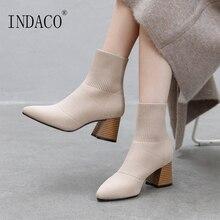 Women Autumn Boots Fashion Sock Genuine Leather 6.5cm