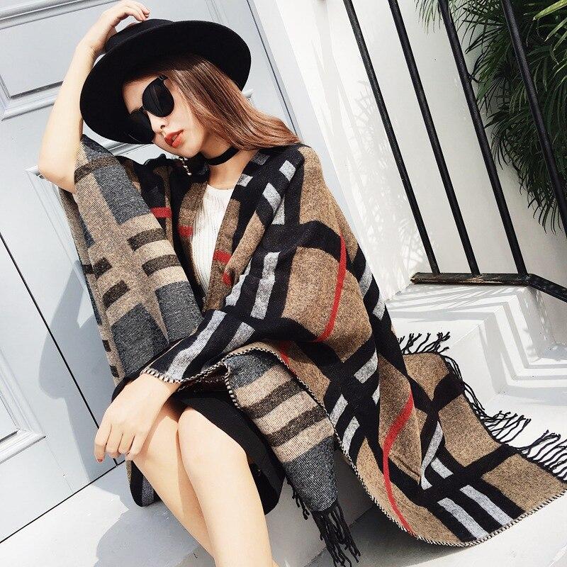 Mingjiebihuo New fashion warm and comfortable scarf thick plaid dual-use shawl autumn and winter women girls plus size shawl
