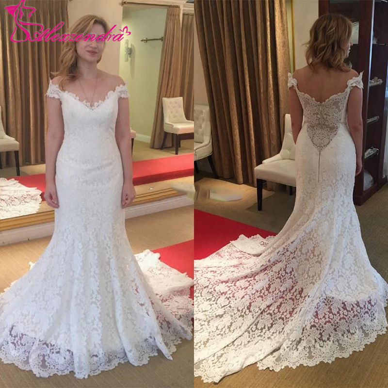 Alexzendra Off The Shoulder Lace Mermaid Wedding Dresses