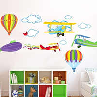 Dessin animé avion et ballons à Air chaud amovible sticker Mural vinyle stickers pour enfants chambre garçons décoration murale