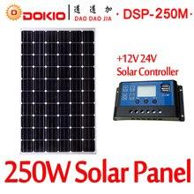 DOKIO Brand 250W 30 Volt Black Solar Panel China + 10A 12/24 Volt Controller 250 Watt Panels Solar Cell/Module/System/Home/Boat