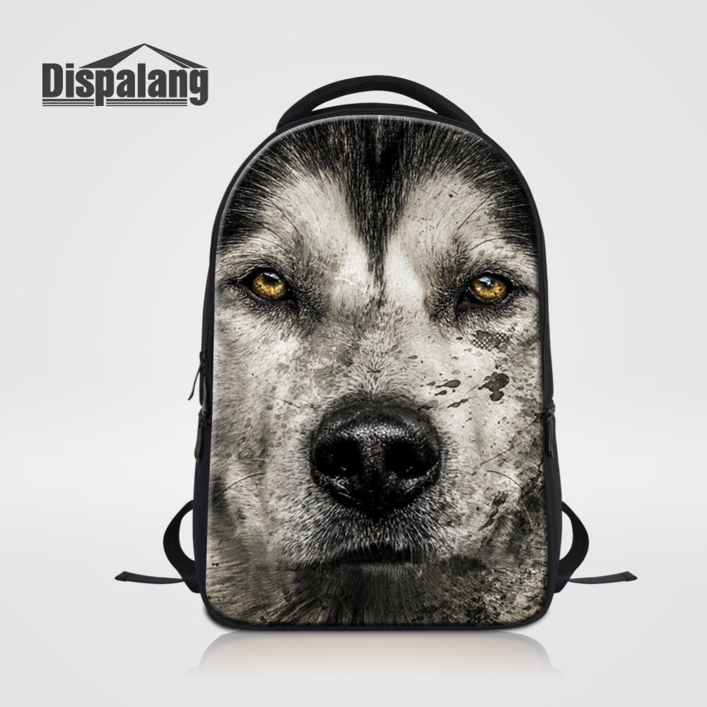 Dispalang Brand Design Man Laptop Backpack Cool Wolf Print Large Travel Bag Animal Shoulder Bags School Bags For Teens Packsacks backpack fashion brand travel sports laptop for women and man school bag