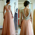 Sexy Backless 2017 Chiffon Beading Crytal Evening Formal Dress Cap Sleeve V-Neck With Sashes Long Vestido de fiesta Bridal gowns