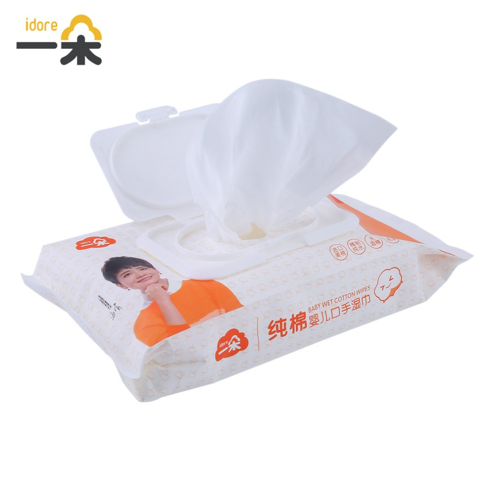 Hot Portable Baby Wet Tissue Paper Lid Wet Wipes Cover Bag Cotton Soft Disposable Tissue For Travel Baby Skin Cleanser 60pcs/bag