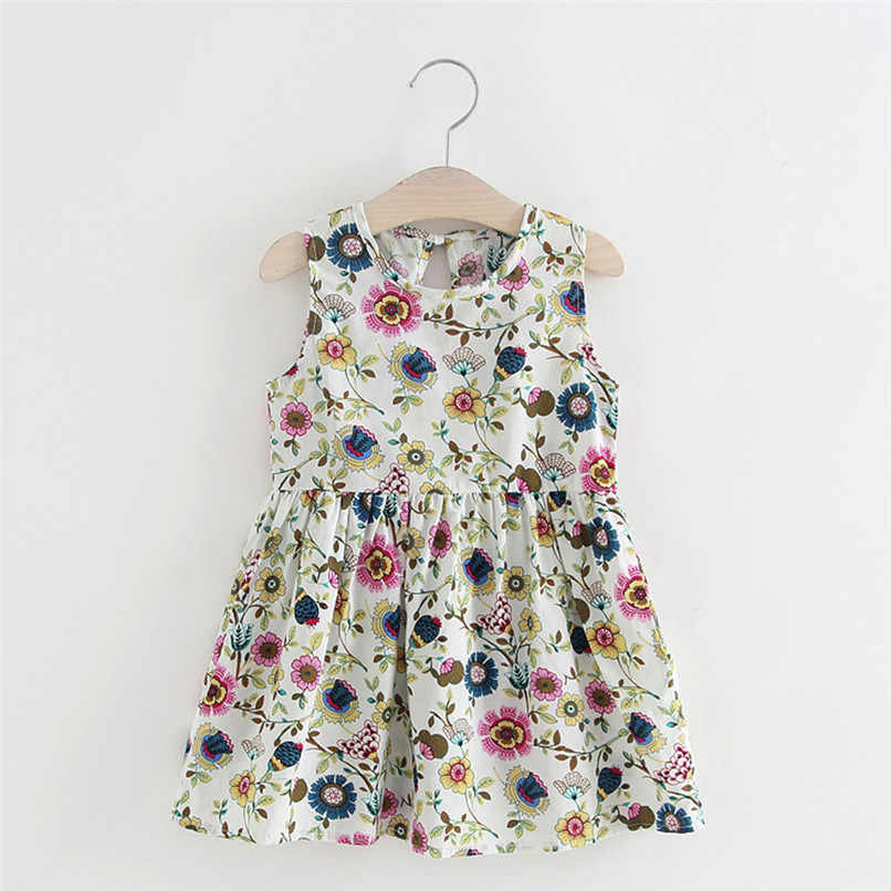 Toddler Girls Summer Princess Print Kids Baby Party Wedding Sleeveless Dresses  #BL0