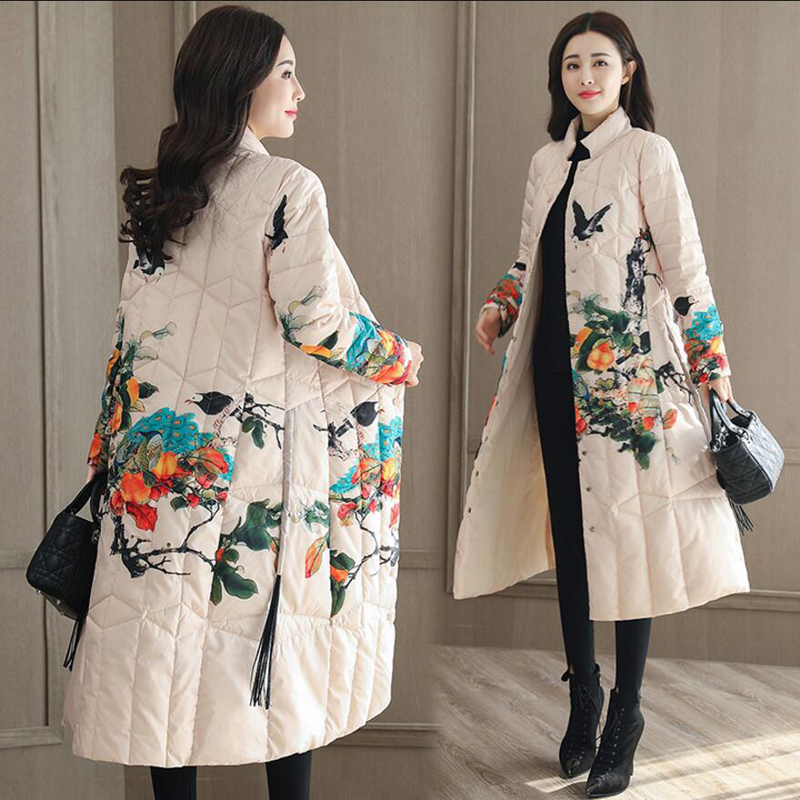 Plus Size Loose Winter Women Thick   Down     Coat   Female Stand Collar White Duck   Down   Jacket Long Print Warm Outwear   Coat   YP1244
