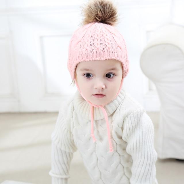 1d1eedfd365 Autumn Baby Girls Boys Hat Winter Warm Gorros Para Bebe Faux Fur Beanies  Skullies Hat Pompom