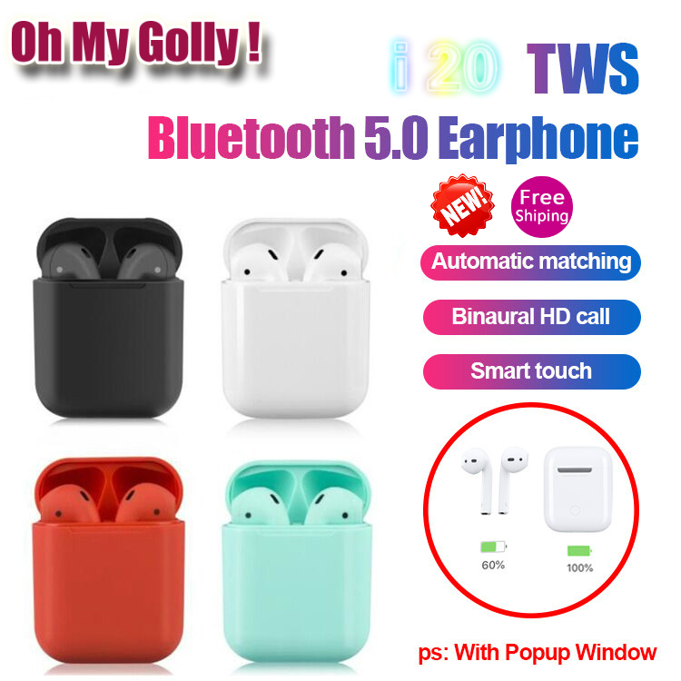 i20 <font><b>TWS</b></font> <font><b>Bluetooth</b></font> <font><b>5.0</b></font> Earphones Earbuds Wireless Headsets Mini <font><b>Touch</b></font> <font><b>Control</b></font> For iPhone For Xiaomi Huawei 1:1 Wireless Earphone image