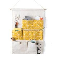 Home fabric hanging storage bag large capacity washable door rear debris multi-layer