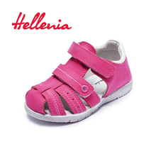 лучшая цена Hellenia toddler beach sandals leather closed-toe children casual flat shoes kids sandals girls boys summer pink navy size 21-26
