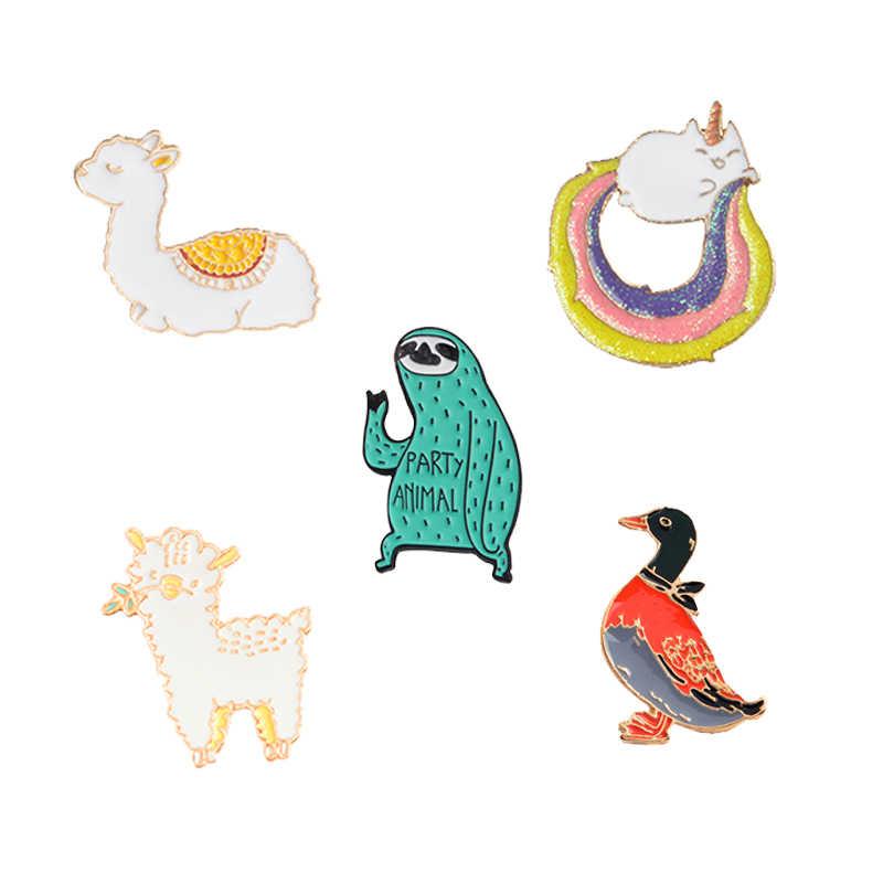 かわいいおかしい動物エナメルピンラマアヒルナマケモノ羊バッジブローチラペルピンデニムジーンズシャツバッグ漫画の宝石類のギフト子供のための