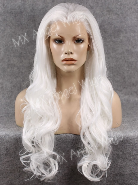 K05 Cheap 26inch Natural Wavy White Color Synthetic Lace Front Wigs Heat Resistant Heavy Density kanekalon Women Cosplay Wigs