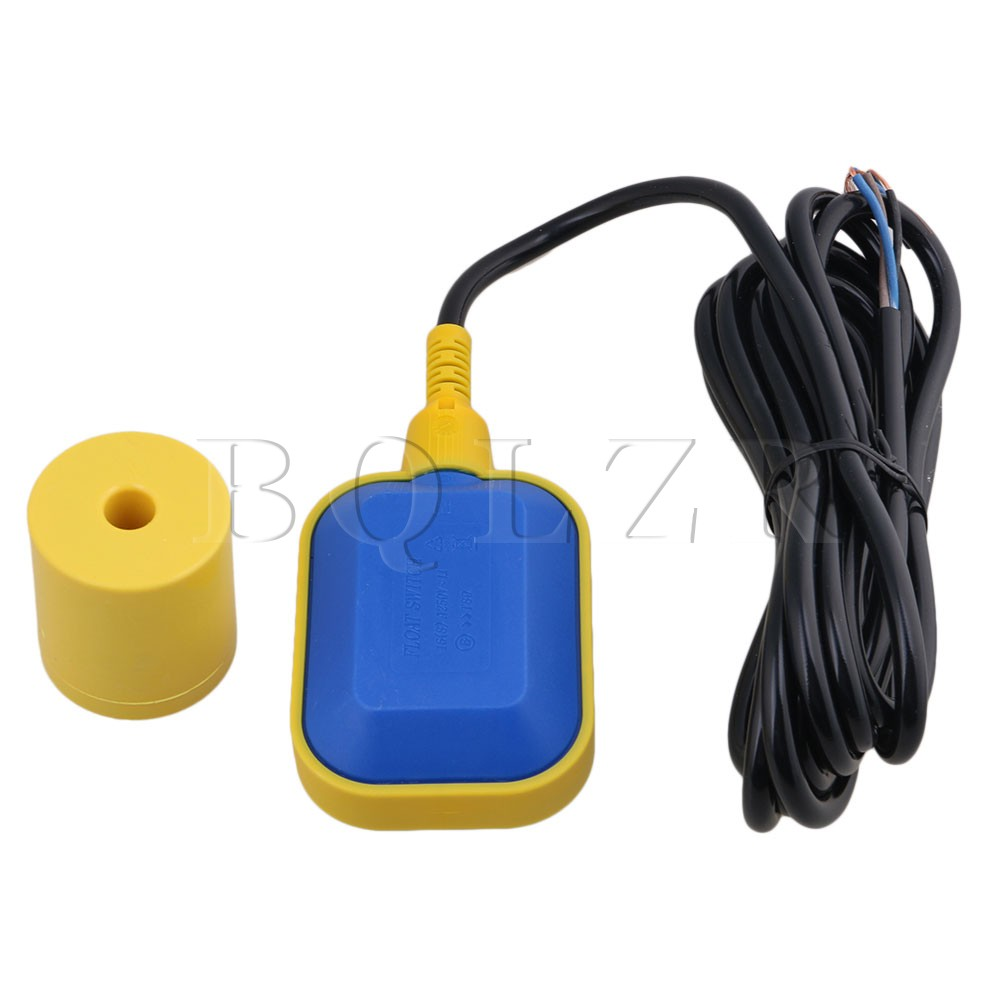 BQLZR Black & Yellow Plastic 0-220V 400cm/13.12ft Cable Water Float Switch Fluid Level Controller for Tank Sum Pump bqlzr diy 9 1x10x5cm black plastic left