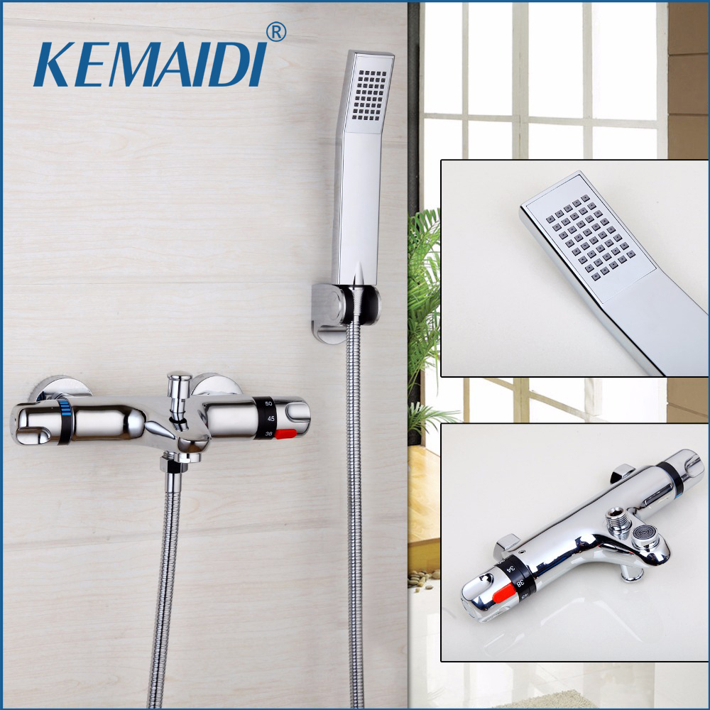 KEMAIDI Good Quality Brass Chrome Thermostatic Bathroom Shower Faucet Bathtub Faucet Wall Mounted Bathroom Thermostatic Faucet wall mounted two handle auto thermostatic control shower mixer thermostatic faucet shower taps chrome finish