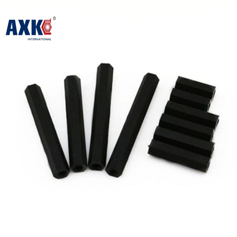 AXK 100pcs/lot M3*10 M3X10 Female to Female double pass thread Black  Nylon Plastic Standoff  Spacer 2017 axk 100pcs lot male to female thread m3 6 6 m3 x 6 black nylon standoff spacer