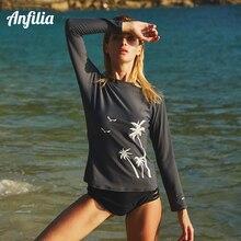 Anfilia Women Swimwear Long Sleeve Rashguard Surfing Top Swimsuit Running Shirt Hiking Shirts Rash Guard UPF50+