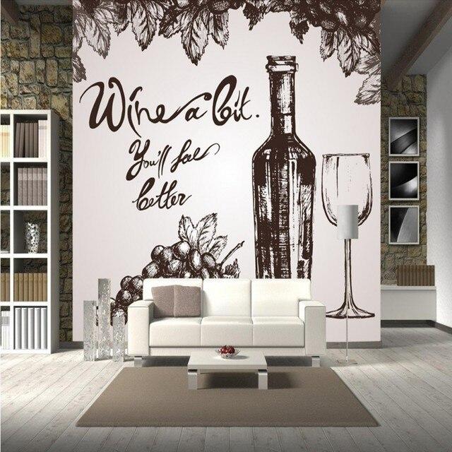 Foto Wallpaper Dipinto A Mano Vino Rosso Cantina Carta Da Parati