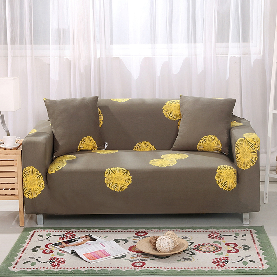 Yellow Flowers Universal Stretch Funiture Covers Polyester Corner