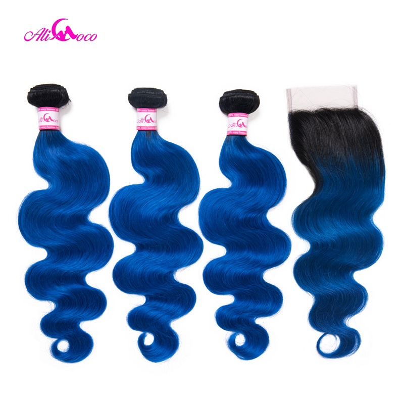 Hair Extensions & Wigs Ali Coco 3 Bundles With Closure 10-30 Inch Brazilian Body Wave Bundles With Closure 1b/blue 100% Remy Human Hair Hair Extension Extremely Efficient In Preserving Heat