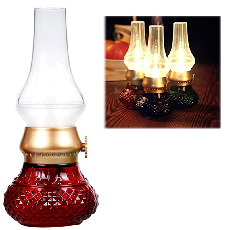 LED Rechargeable Flameless Candle Lantern Vintage Oil Table Lamp With Blow ON/OFF Control Dimmer Control Kerosene Night Light