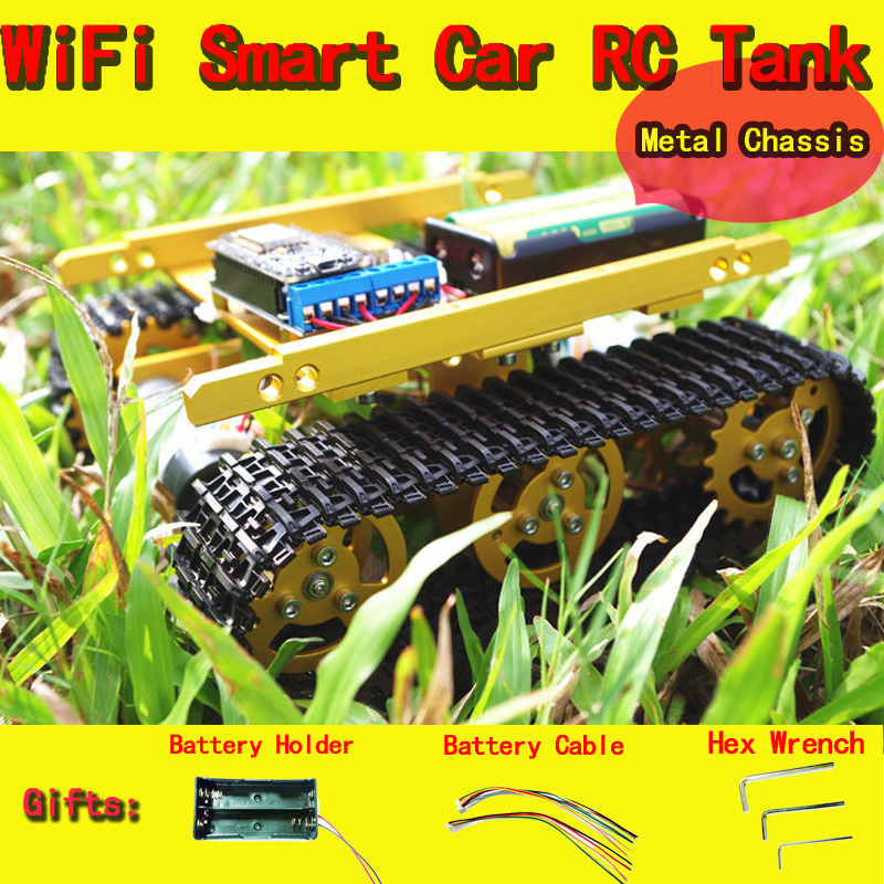 DOIT WiFi RC Full Metal Robot Tank T100 from NodeMCU Development Kit with L293D Motor Shield Controlled by APP Phone DIY RC Toy doit mini nodemcu esp8266 wifi development board based on esp 12f 4m bytes flash esp 12f lua iot diy rc free shipping