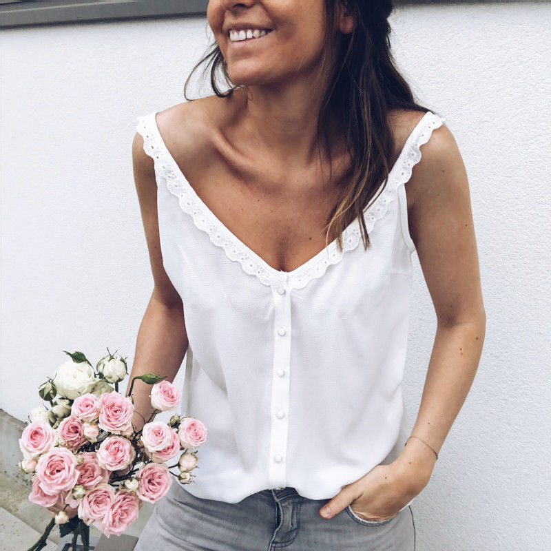 2018 Women Casual Loose Summer Top Lace Sleeveless Blouse Breathable Basic Vest loungewear Solid debardeur femme camisetas mujer(China)
