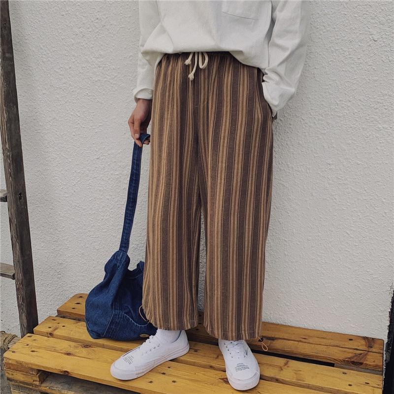Diszipliniert Dark Icon Gestreiften Breite Bein Hosen Männer Elastische Taille Verstellbaren Bein Öffnung Männer Hosen Japan Stil Bequemes GefüHl