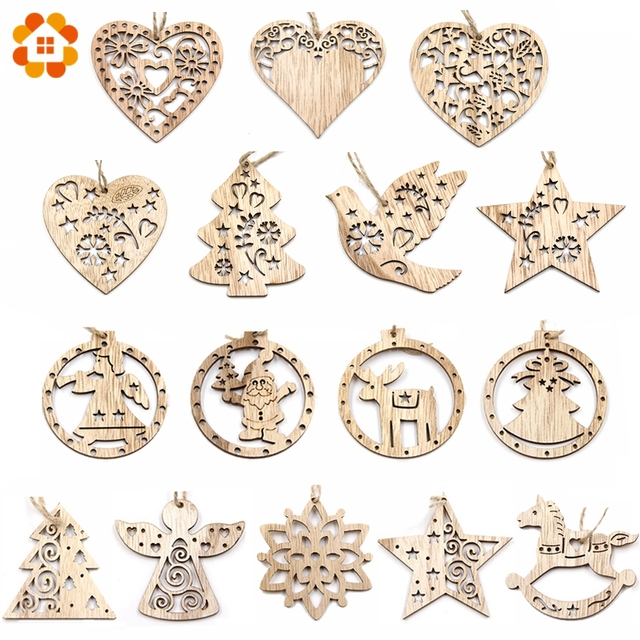 3PCS Vintage Christmas Wooden Pendants Ornaments DIY Wood Crafts Xmas Tree Ornaments Christmas Party Decorations Kids Gift